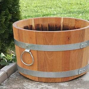 Pflanzkübel aus Holz, rund, 30x48cm | www.pflanzenkuebel.eu