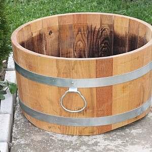 Pflanzkübel aus Holz, rund, 30x55cm | www.pflanzenkuebel.eu