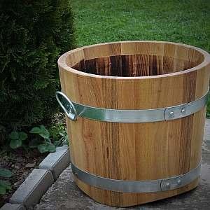 Pflanzkübel aus Holz, rund, 38x41cm | www.pflanzenkuebel.eu