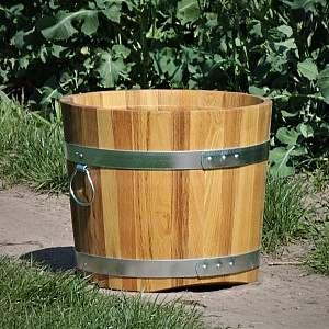 Pflanzkübel aus Holz, rund, 41x48cm | www.pflanzenkuebel.eu