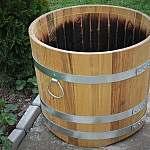 Pflanzkübel aus Holz, rund, 50x60cm | www.pflanzenkuebel.eu